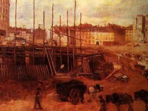 Chantier ouvert en 1864 pour le percement de l'avenue de l'Opéra à Paris. Giuseppe de Nittis. Musée Carnavalet à Paris