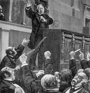 Adolphe Thiers, très bon orateur, à la tribune pour s'opposer à la déclaration de guerre en 1870