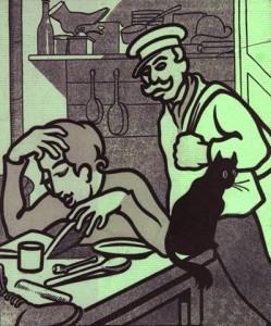 """Femme lisant le Capital. """"Et cette soupe?"""" demande l'ouvrier-caricature de l'Assiette au Beurre"""