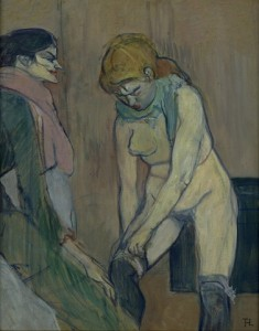 Femme tirant son bas de Toulouse-Lautrec