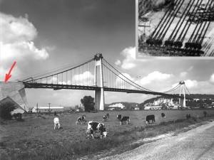 pont suspendu, massif d'ancragee
