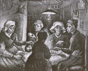 gravure d'après les mangeurs de pommes de terre de Van Gogh