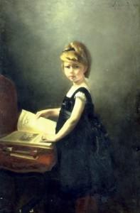 Besnard Albert (849-1934).-Fillette feuilletant un livre