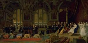 Léon GEROME, Réception des ambassadeurs du SIAM par Napoléon III et l'Impératrice Eugénie dans la grande salle de bal Henri II du château de Fontainebleau le 27-06-1861