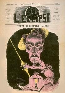 Caricature de Rochefort, créateur du journal La lanterne