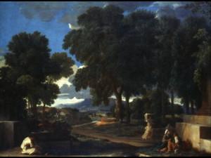 Nicolas Poussin, un homme se lavant les pieds à la fontaine