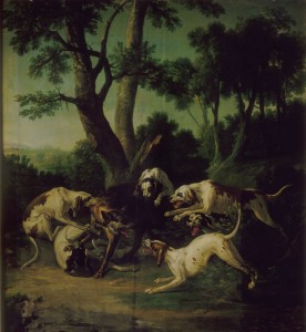 loup attaqué par six chiens de J.B. Oudry