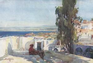 Les Terrasses d'Alger, aquarelle de E. Villon