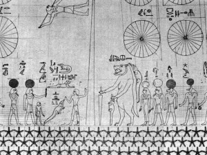 Plafond du tombeau de Senmout, les cercles divisés représentent les douze mois lunaires.