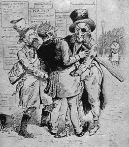"""""""Haute banque"""" par Paul de Sémant, caricature, extraite de la bombe, a trait à l'affaire du comptoir d'Escompte. A droite, Rouvier, ministre des finances, et à gauche, Ferry en Robert Macaire, s'entendant à plumer un gogo"""