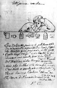 Portrait de Rimbaud en 1875.-Dessin à l'encre et à la plume, sous le dessin un poème de Coppée intitulé Ultissima Verba