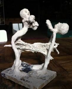 sculpture en papier mâché de Maryvonne Pellay