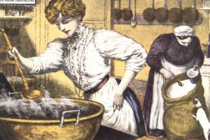 Préparation de confitures dans un chaudron étamé