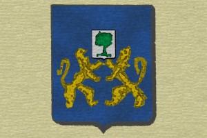 blason, Aubry de la Villedé : d'azur à deux lions affrontés d'or supportant ensemble un écusson chargé d'un abricotier de sinople.